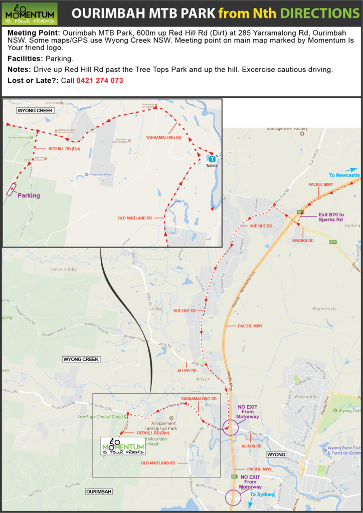 Ourimbah MTB Park location directions from north
