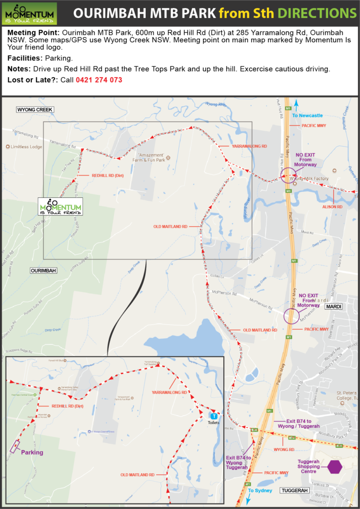 Ourimbah MTB Park location directions from sth